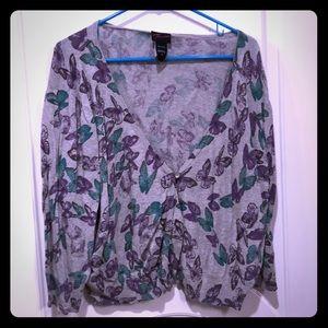 Torrid size 4 gray teal purple butterfly sweater